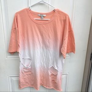 Forever 21 Distressed Ombre Shirt .